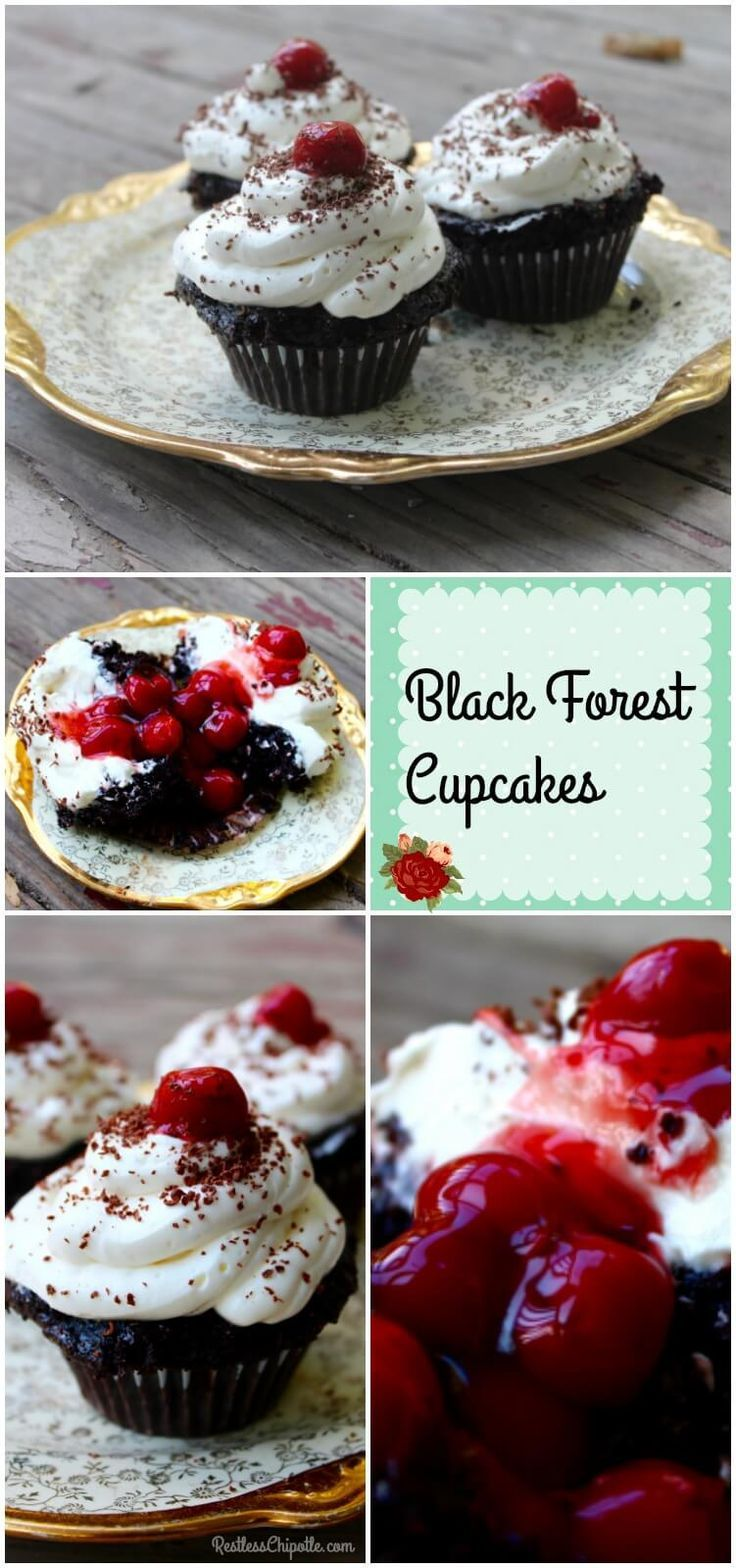 Deep chocolate, sweet cherries, and whipped frosting make these Black Forest Cupcakes totally addictive. From http://RestlessChipotle.com