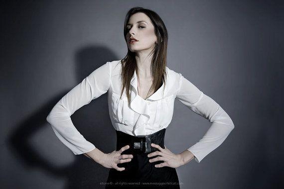 white silk blouse woman blouse silk blouse by modafranca on Etsy, €80.00