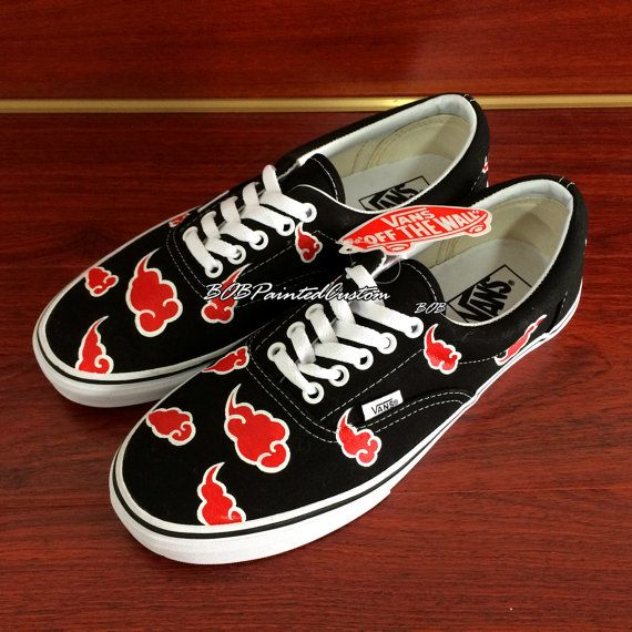 Lace Up Black Vans Custom Anime Naruto Akatsuki Design Hand Painted Canvas Shoes for Men Women Custom Design Vans Shoes Online