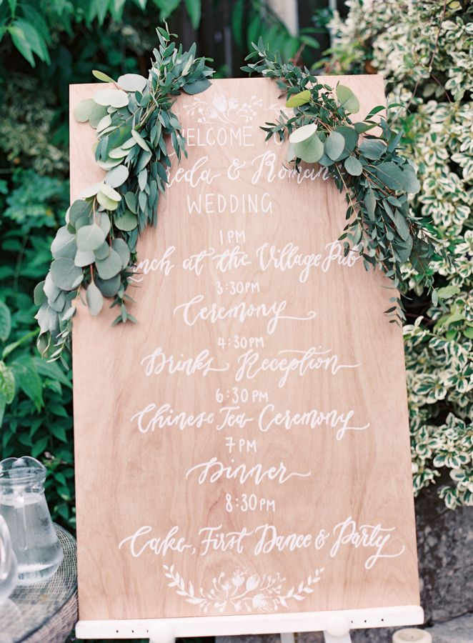 Garland covered wedding agenda sign: http://www.stylemepretty.com/2016/02/23/classic-english-garden-cotswolds-wedding/ | Photography: Depict Photography - http://www.depict-photography.com/