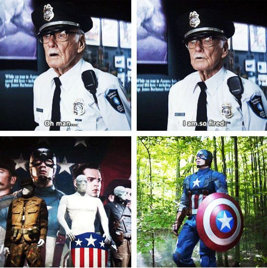 "Stan Lee as the Smithsonian guard in ""Captain America: The Winter Soldier"""
