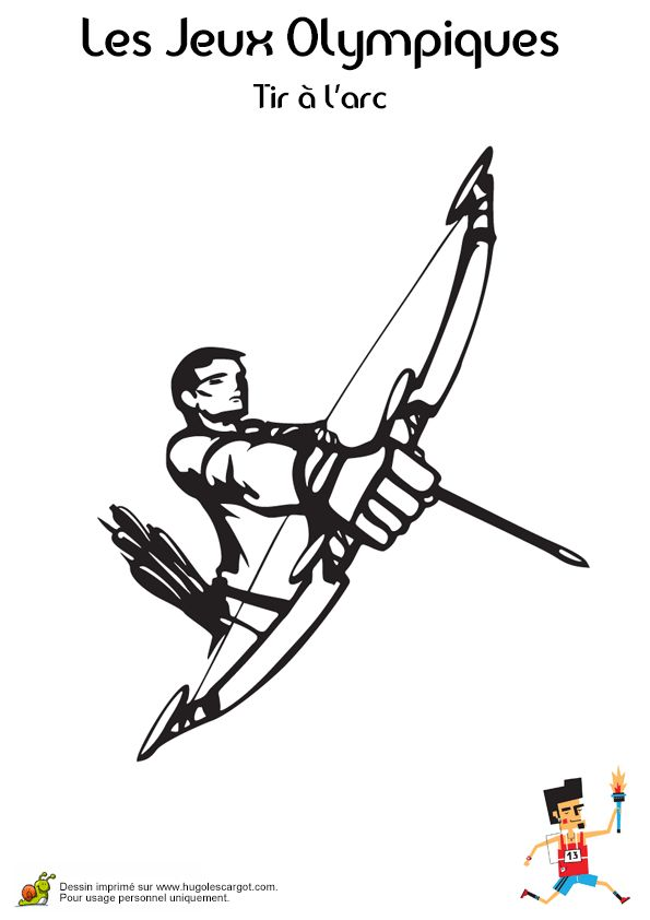 Coloriage d'un athlète se préparant au tir à l'arc aux Jeux Olympiques