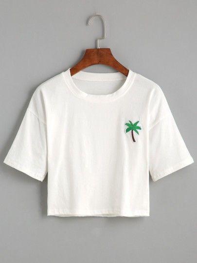 Kurzes T-Shirt 2017 mit Palmen Druck