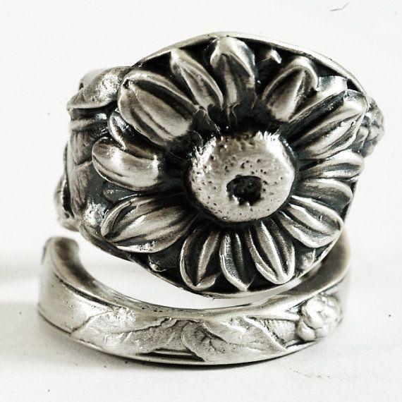 Sunflower Spoon Ring in Art Nouveau Sunflower Flower by Spoonier