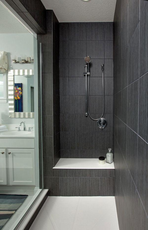 19 Bathroom Shower Tile Ideas Grey In 2020 Dark Tile Shower Bathroom Shower Tile Large Shower Tile