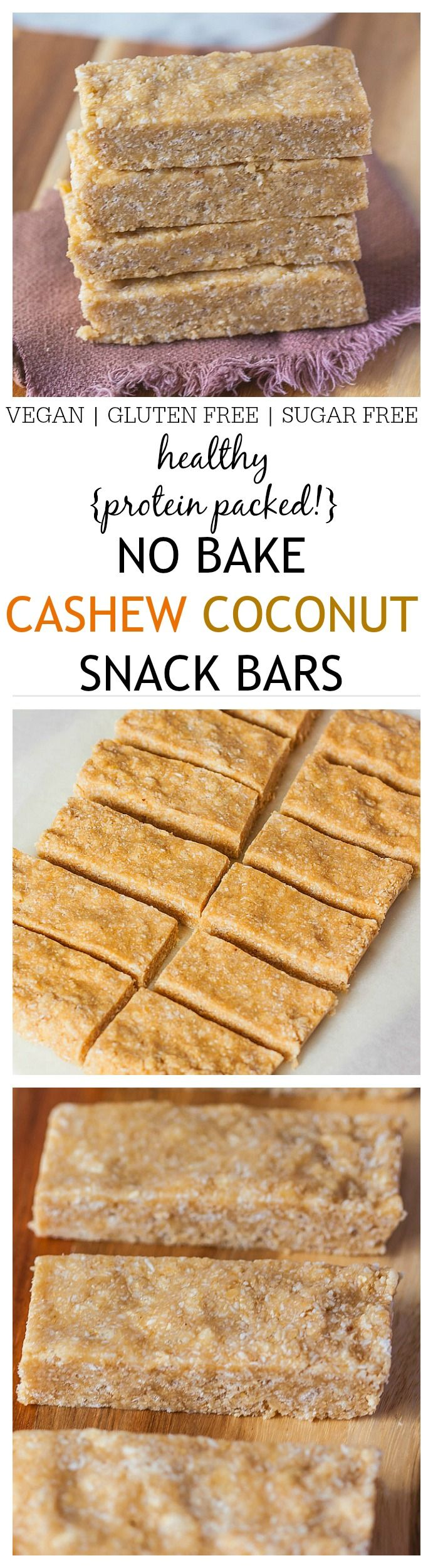 Healthy No Bake Cashew Coconut Protein Bars recipe which uses 1 bowl and takes 5 minutes- Quick, easy and No food processor necessary AND stable at room temperature! {vegan, gluten free} -thebigmansworld.com