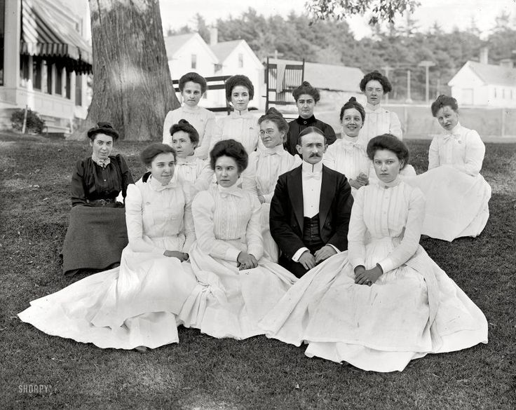 """Mansion House Staff Poland Spring, Maine, circa 1900. """"At the Mansion House -- hotel staff."""" From Shorpy."""
