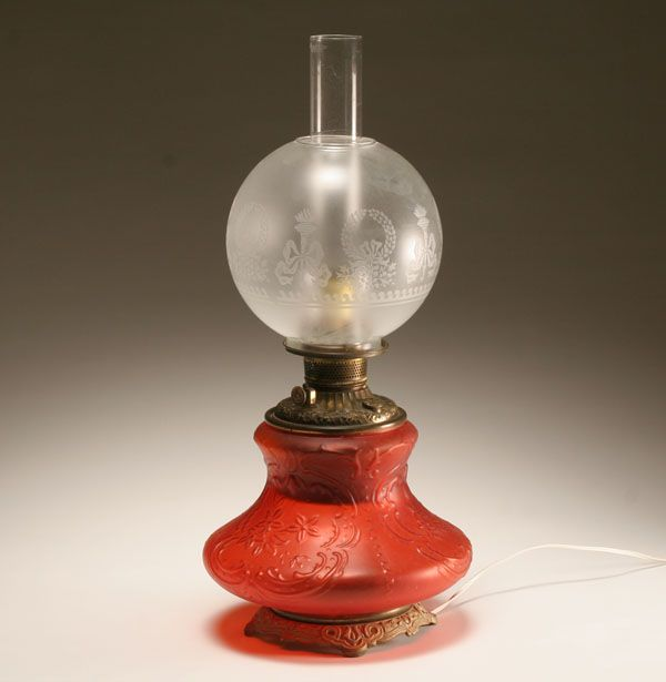 Victorian Era Oil Lamp With Embossed Red Satin Glass Font,