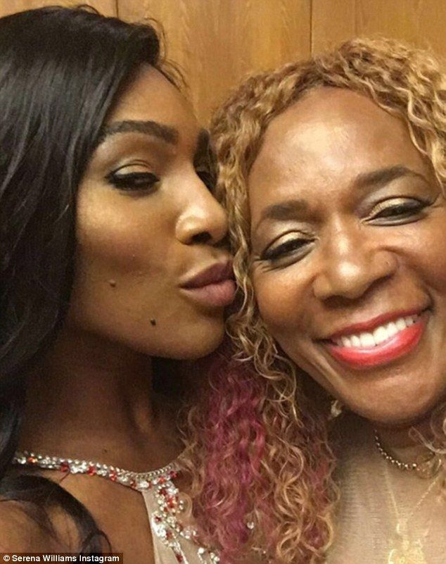 Her rock: Serena shared a photo with her 64-year-old mother Oracene Price as she captioned it: 'That's bae'