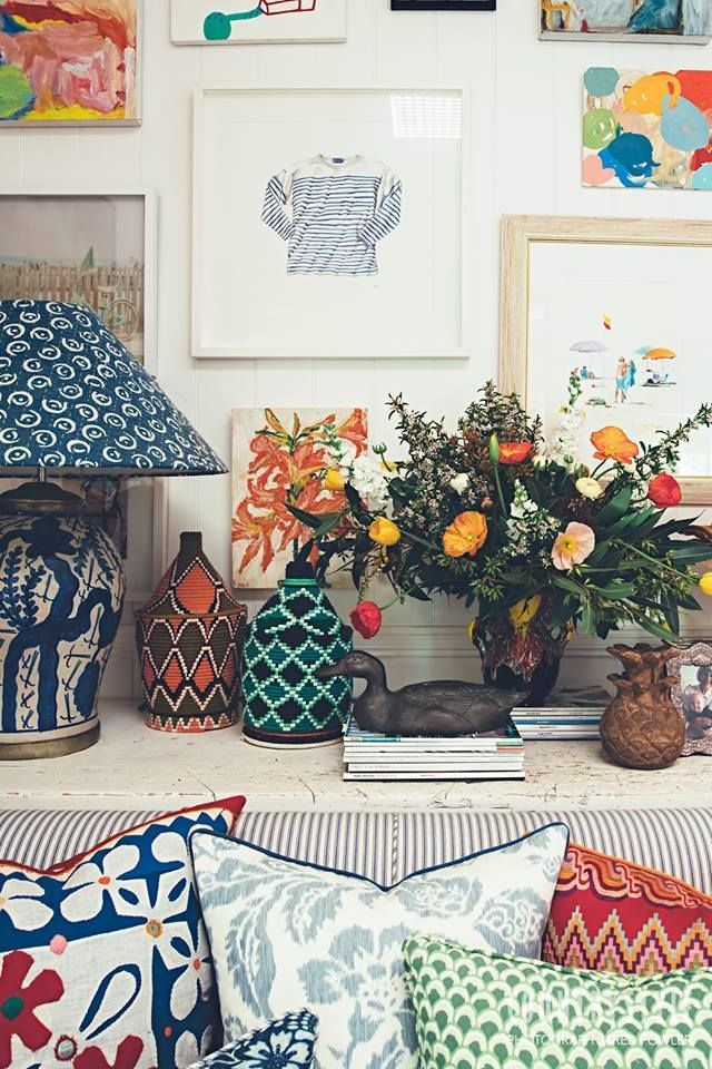 Country Style Magazine. Interior designer Anna Spiro's amazing talent for mixing colour and pattern is obvious in every corner of her Queensland home. Photography Jared Fowler Styling Anna Spiro #countrystylemag #annaspiro: