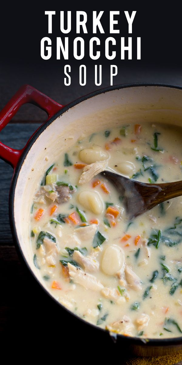 Creamy Turkey Gnocchi Soup. Creamy, cozy, and comforting, this Turkey Gnocchi Soup is a perfect way to use up Thanksgiving leftovers. Sub in chicken if you finished off the turkey!