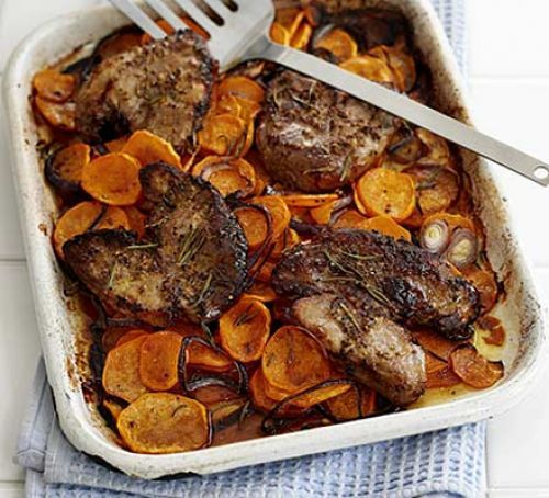 Lamb steaks with rosemary sweet potatoes change oil for fry light this makes it Slimming world friendly x
