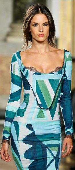 My girl Alessandra in Emilio Pucci artsy analogous colors