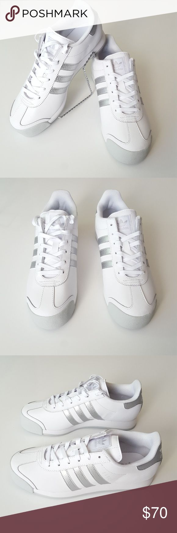 ♀ NEW ADIDAS WOMEN'S White & Silver Samoa Shoe 100% authentic Brand new with box  FEATURES: Leather upper with silver leather overlays Breathable mesh lining Padded collar provides cushion and support Reinforced toe with rubber toe bumper offers protection and durability EVA midsole provides lightweight shock absorbing comfort Rubber outsole delivers flexible traction  Check out my other Burberry, Zara, Nike, Under Armour, J Crew, Vince Camuto, TOPSHOP, Coach, Michael Kors, Forever 21, Kate…
