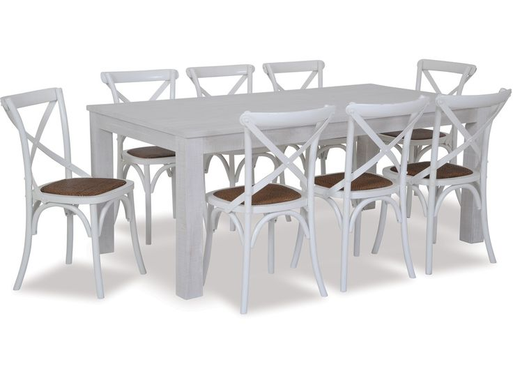 Rustic and contemporary, the West Coast dining table is sturdy yet stylish and offers great design at real value. The Cross dining chair in oak with an antique white finish, features an iron cross back and natural rattan seat and will make an eye catching addition to your dining area. - See more at: http://danskemobler.co.nz/product/1822-West-Coast-Dining-Table-Cross-Chairs-x-8#sthash.zpq5K6vx.dpuf
