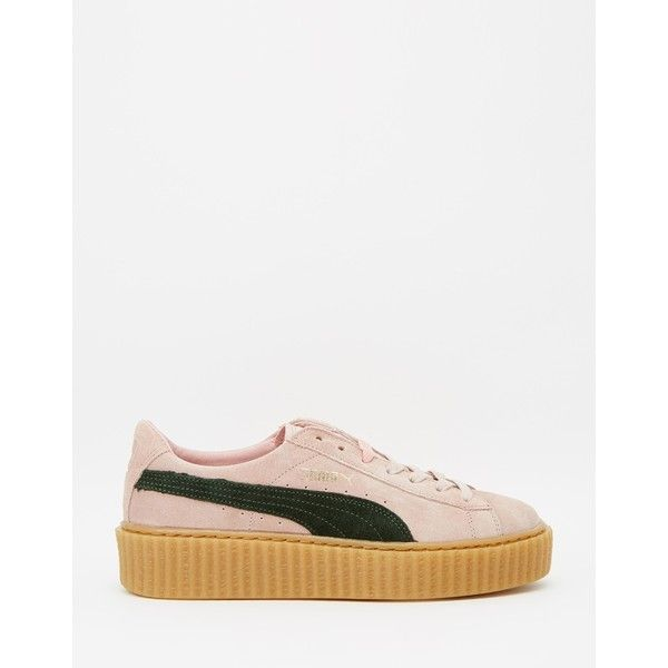 Puma by Rihanna Coral Cloud Suede Creeper Sneakers ❤ liked on Polyvore featuring shoes, creeper shoes, suede shoes, suede leather shoes and coral shoes