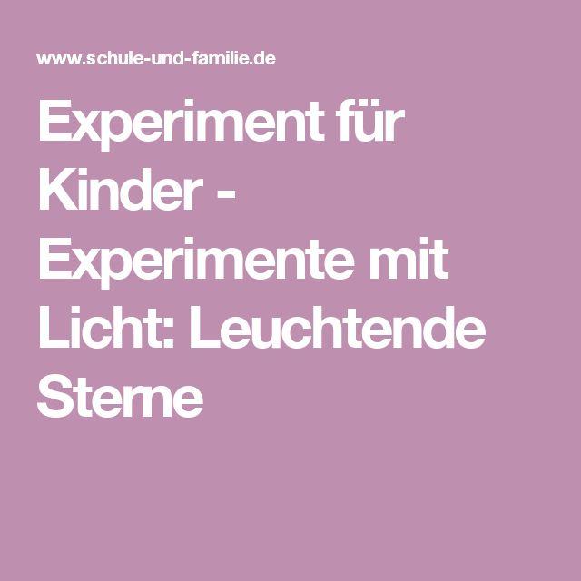 Experiment für Kinder - Experimente mit Licht: Leuchtende Sterne