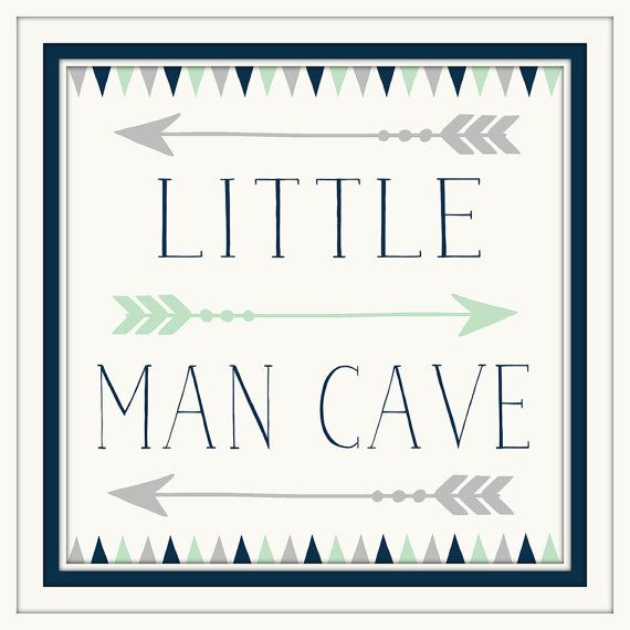 Baby Boy Nursery Decor  Little Man Cave  Navy  Grey  Art | Etsy