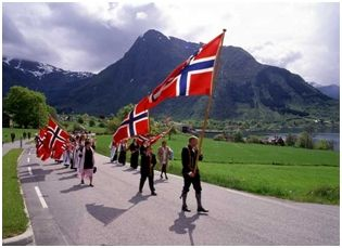 Syttende Mai - It celebrates the day in 1814 when Norway adopted its Constitution and declared its independence from Denmark. It was then forced into a Union with Sweden for a hundred years before gaining its complete independence.