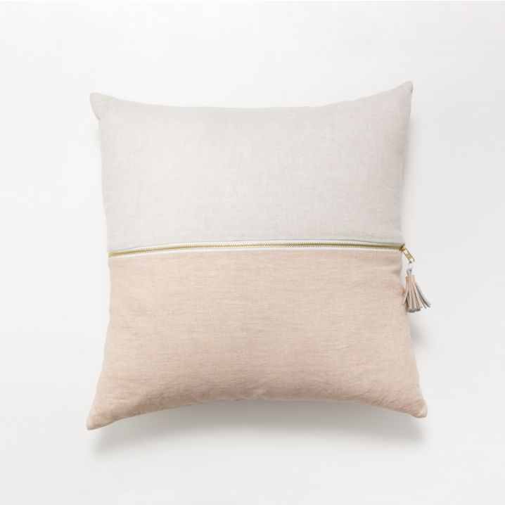 These beautiful screen printed linen cushions are a lovely addition to any home! This cushion is double-sided with an exposed-zip closure, and comes filled with a feather insert.    Proudly designed in Melbourne with love.     Dimensions: 50 x 50 cm