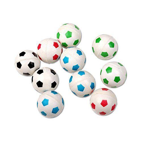 S/O® Lot de 10balles rebondissantes de 27mm en forme de ballons de football Pour tombola, anniversaire d'enfant, etc.: Lot de 10balles…