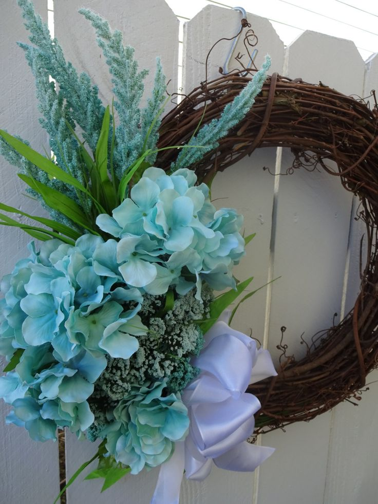 Easter Wreath Aqua Wreath Spring And Summer Wreath Hydrangea Wreath Faux Wreath Mothers Day Gift Home
