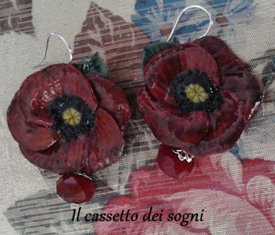 Orecchini papavero / red poppy earrings