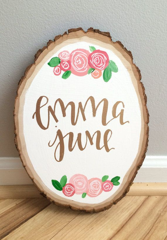 Custom baby name wood slice custom wood slice floral by ADEprints