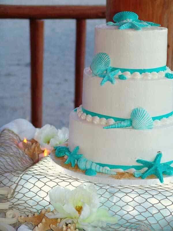 Quinceanera Or Wedding Beach Theme Aqua And White Cake