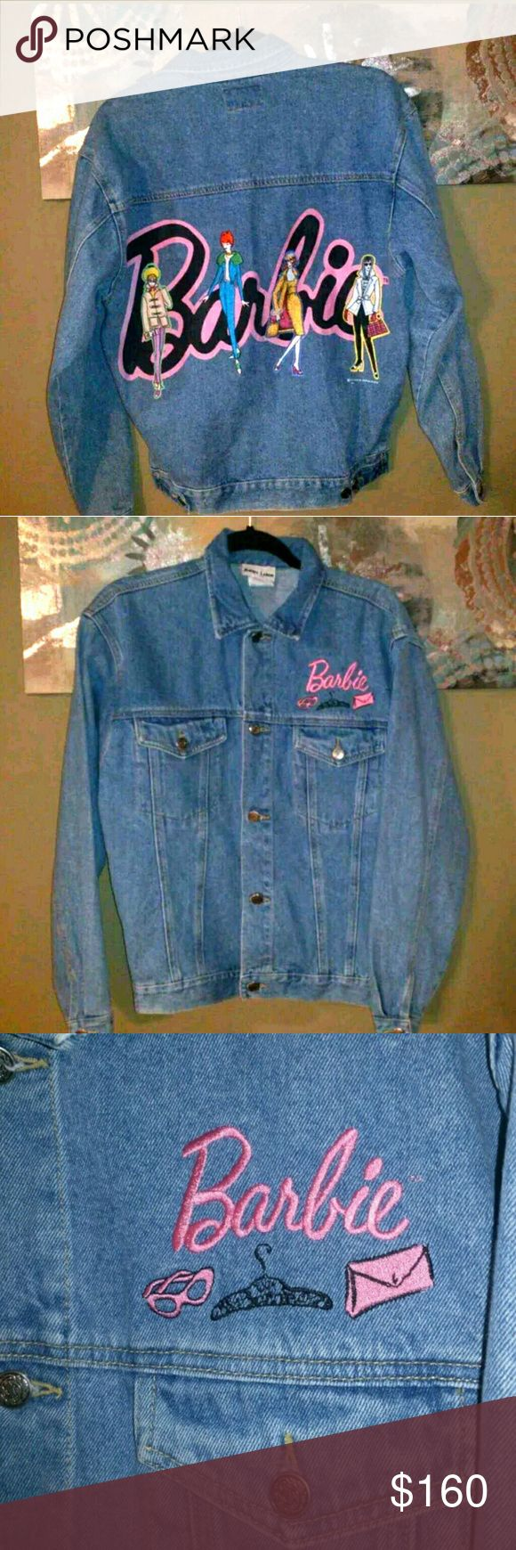 VTG BARBIE DENIM JACKET JERRY LEIGH WOMENS 90s Great vintage condition, rare, HTF, vintage Mattel x Jerry Leigh denim jacket from 1995. Tagged size womens small, but fits me (size M) a bit oversized so would work for sizes S-L, IMO.  The embroidery is flawless & so fab, the large graphic on the back is also in great condition. Minimal signs of wear. Wildfox asos dollskill lazy oaf unif nasty gal topshop #barbie #y2k #90s #vintage #deadstock #rare #unif #dollskill #lazyoaf #vtg #htf  Message…