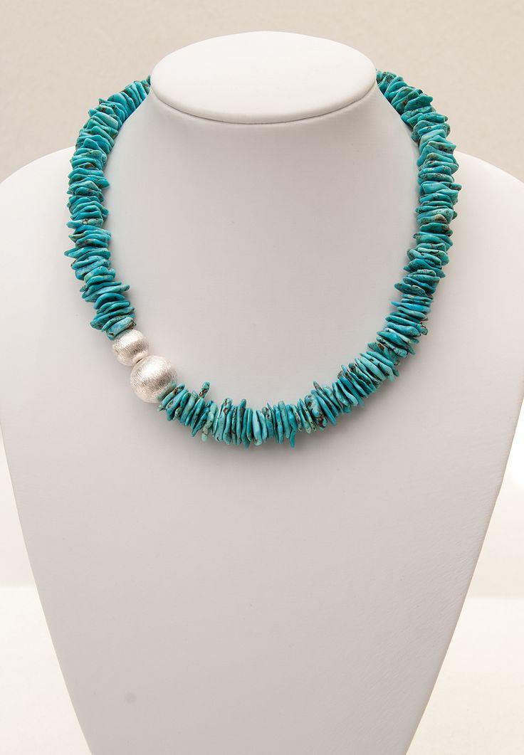 Kette aus feinen Türkis-Plättchen   Turquoise necklace   atelier ie.