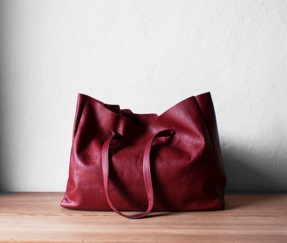 Cranberry Leather Shopper / Leather Tote / Shoulder Bag by morelle