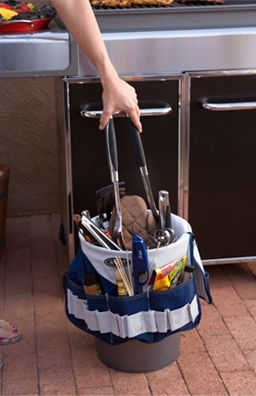 Idea to keep grill tools organized - tall bucket with tool belt