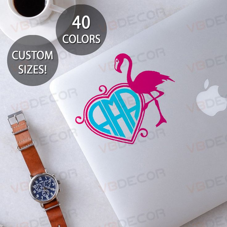 Flamingo with heart monogram decal 0061, yeti cup monogram decal, wall monogram decal, car monogram decal, monogram sticker, laptop decal by VBDecor on Etsy