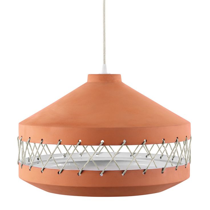 Large terracotta Tie Lamp with white ecru coloured cotton ties.