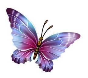 Purple and Blue Transparent Butterfly Clipart