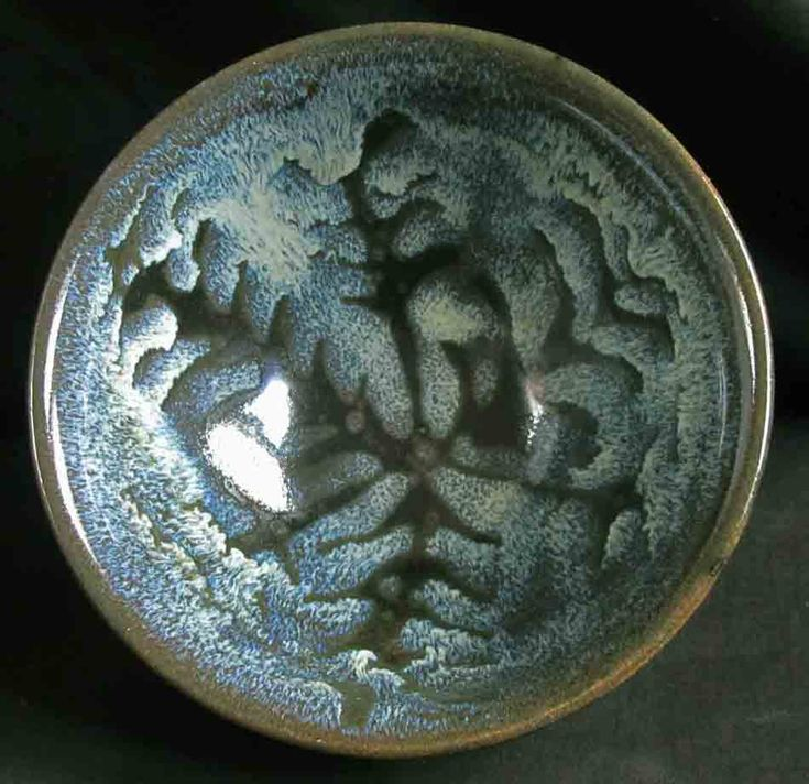 Frosty bowl, wax resist jun glaze