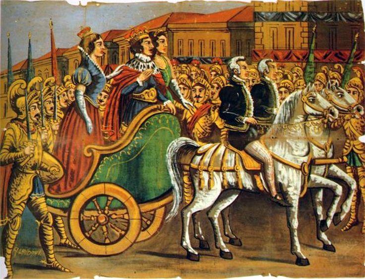 65 Entrata di Carlo Magno a Parigi con la sposa Galerana e una dama di compagnia (I Paladini di Francia)