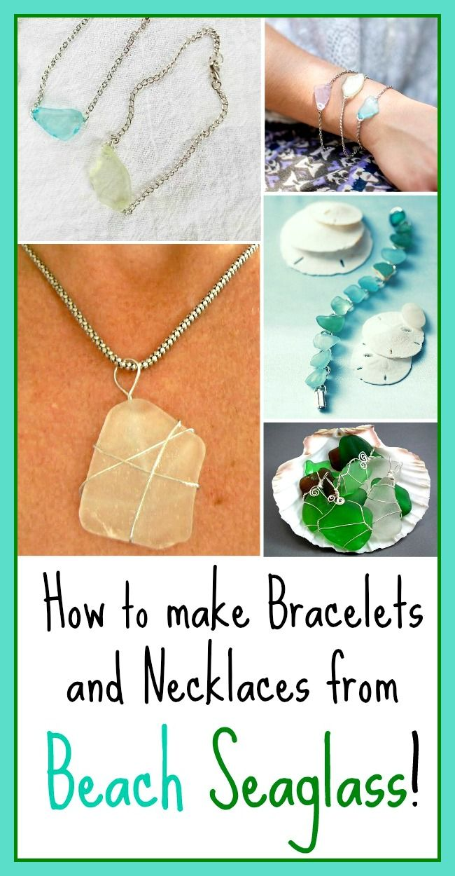 How to make Bracelets and Necklaces from Beach Seaglass: http://beachblissliving.com/how-to-make-jewelry-from-beach-sea-glass/ From wire wraps, to glue-on, to drilling holes.