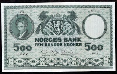 Norway banknotes 500 Norwegian Krone bank note of 1966, Niels Henrik Abel, 4th issue (1948 - 1976). Norwegian money