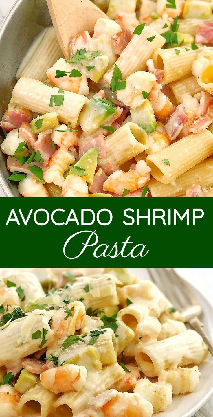 Avocado Shrimp Pasta With Bacon Creamy Avocado Combined With Prawns Shrimp And Bacon In A Creamy Garlic Sauce Easy Pasta Dinner Recipes Shrimp Pasta Best Pasta Recipes