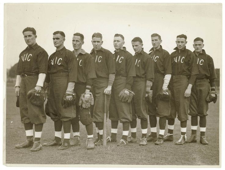 Victorian representative baseball team playing in Sydney, 1930s. Sam Hood Collection, Mitchell Library, State Library of New South Wales:  http://www.acmssearch.sl.nsw.gov.au/search/itemDetailPaged.cgi?itemID=153676