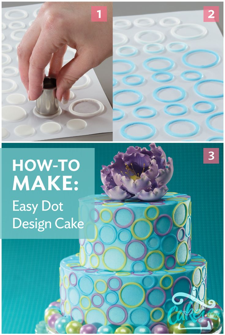 Pre-cut fondant dots make it so easy to create a stunning cake like this one. Buy pre-cut fondant from Cakes.com.