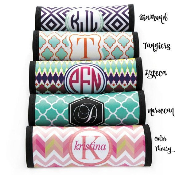 Monogrammed Luggage Handle Wraps | Personalized Luggage Wraps | Personalized Luggage Spotters | Personalized Luggage Handle Cover
