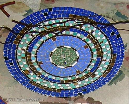 Satellite dish becomes mosaic-ed bird bath