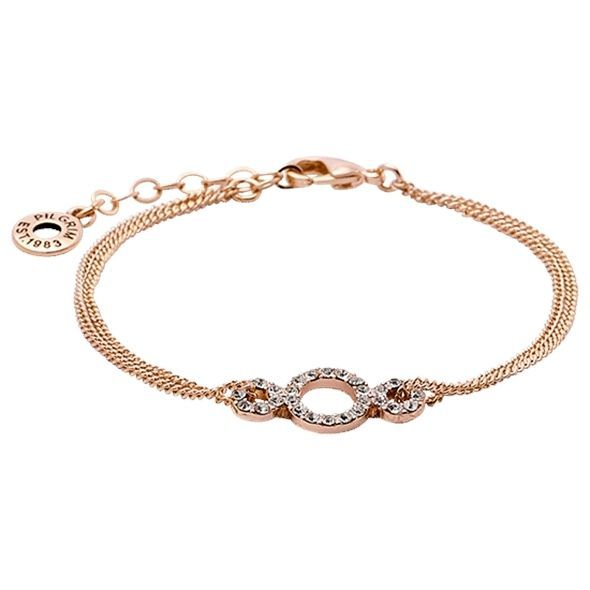 Pilgrim Jewellery Rose Gold double chain bracelet classic crystals & gift bag