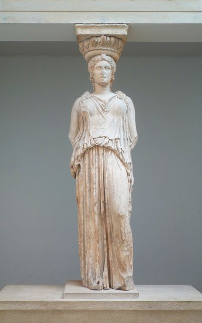 The missing 6th Caryatid, taken by Lord Elgin from the South Porch of the Erechtheum (aka Erechteion), Acropolis, Athens, marble, 421-407 B.C. (British Museum, London)