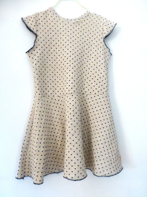 Cotton jersey minimal dress for girls with circle wavy skirt and bell shaped sleeves - made of japanese fabric with polka dots
