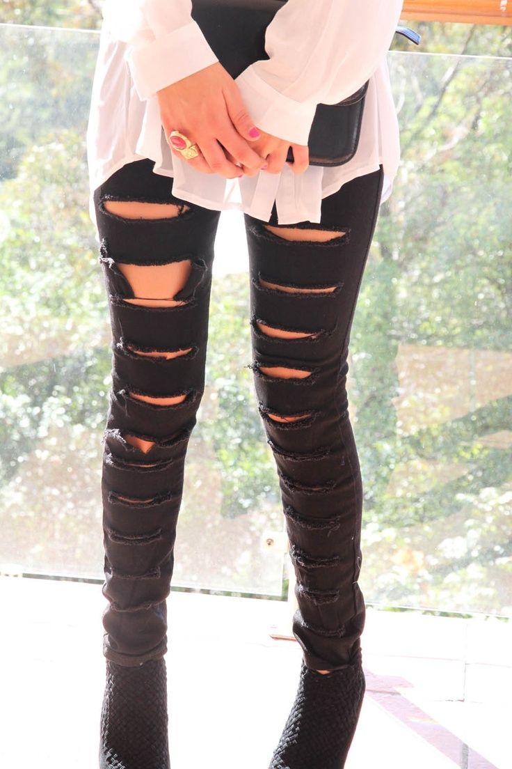 Black slasher jeans by Sabo Skirt
