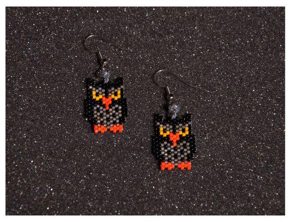 Owl Earrings by HandMadeBeadedCrafts on Etsy